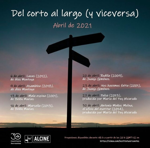 Del corto al largo y vice versa instituto Cervantes Abril 21